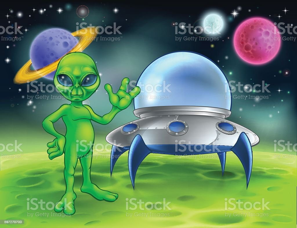 Alien and Flying Saucer on Moon royalty-free alien and flying saucer on moon stock vector art & more images of adult