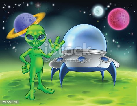 Alien And Flying Saucer On Moon Stock Vector Art & More Images of Adult 597270700