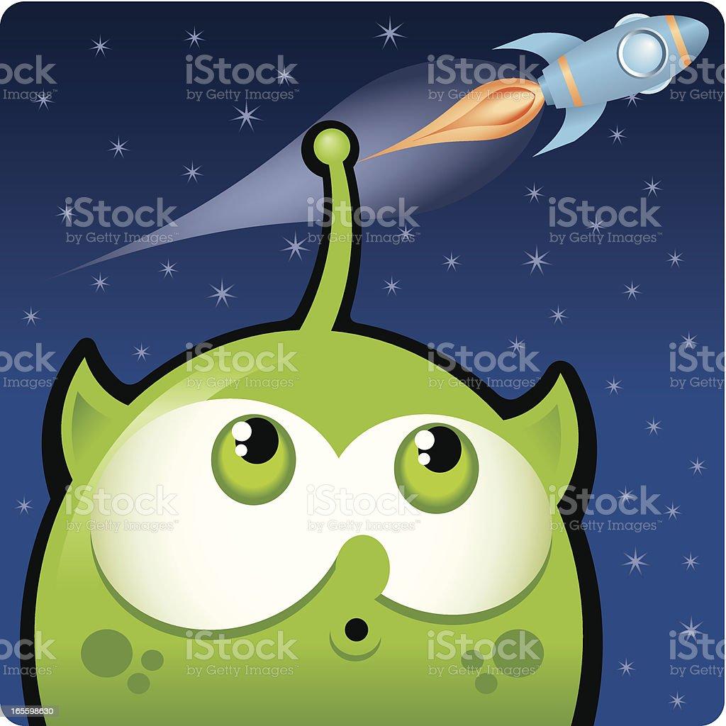 Alien and rocket. ilustración de alien and rocket y más banco de imágenes de campo de estrellas libre de derechos