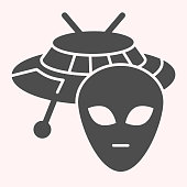 istock Alien and ufo glyph icon. Spaceship with face, life on other planets sign. Astronomy vector design concept, solid style pictogram on white background, use for web and app. Eps 10. 1206407851