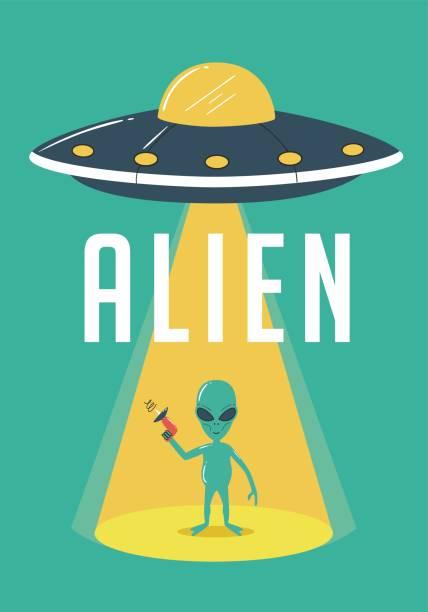 stockillustraties, clipart, cartoons en iconen met alien en ufo afbeelding - buitenaards wezen