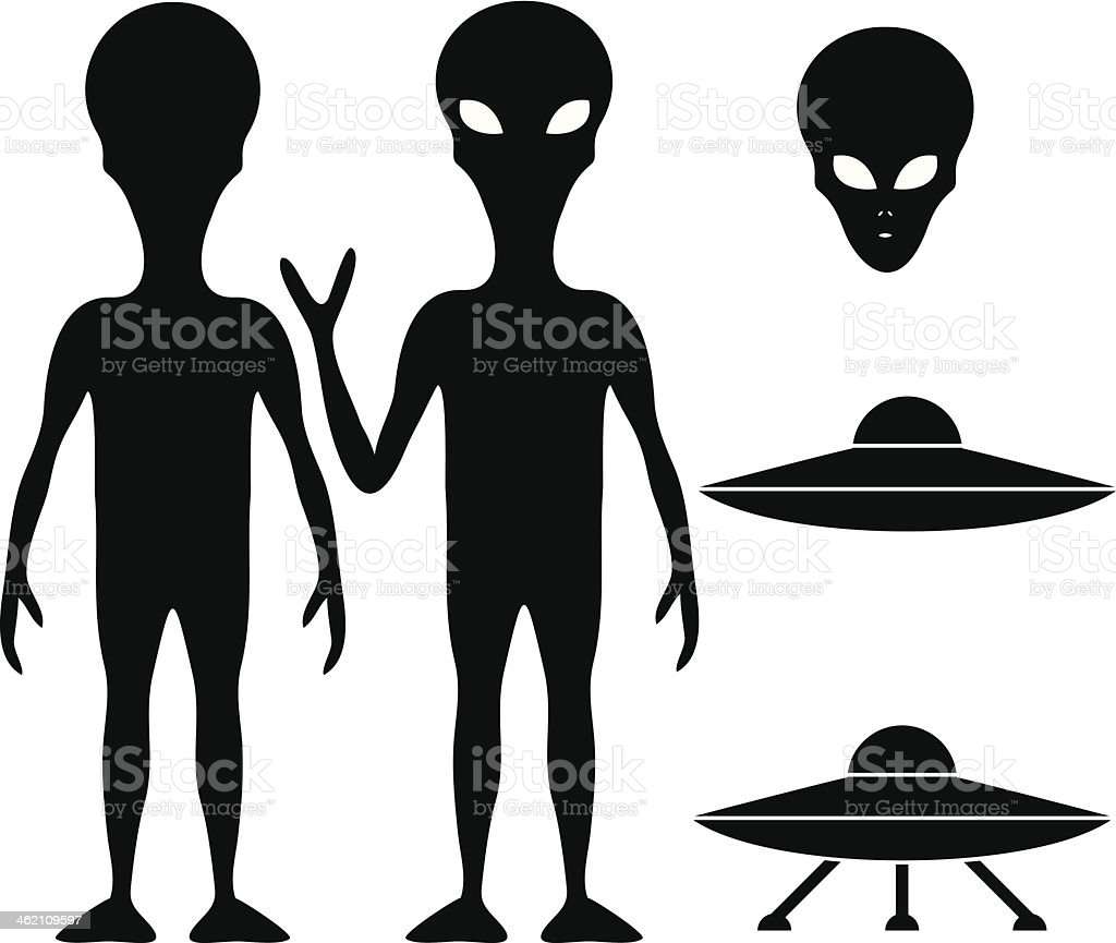 Alien and UFO vector art illustration