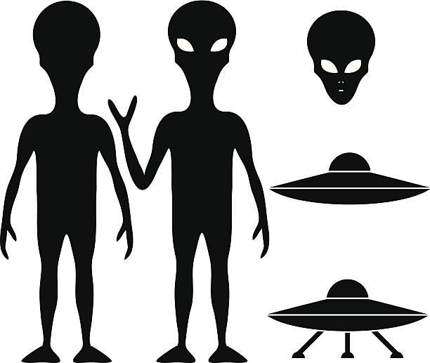 stockillustraties, clipart, cartoons en iconen met alien and ufo - buitenaards wezen