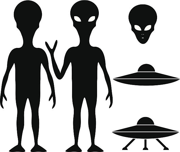 Alien and UFO vector art illustration
