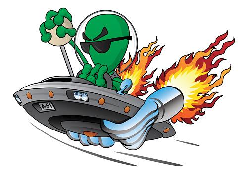 UFO Alien Area 51 Hot Rod Isolated Vector Illustration