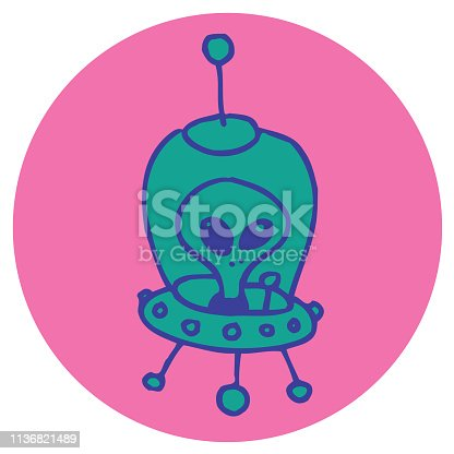 istock alien cartoon character ufo star ship 1136821489