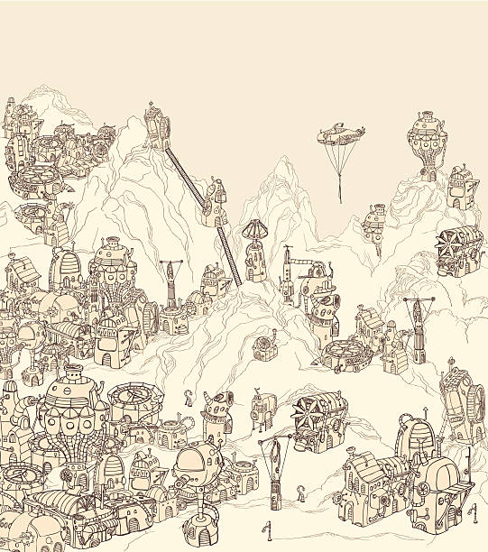 Alien city on planet earth. vector art illustration