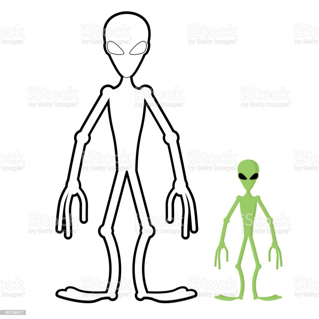 Ilustración de Alien Libro Para Colorear Humanoid Espacio ...