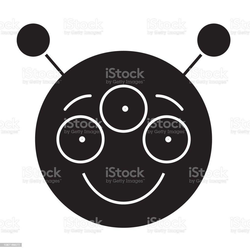 Alien Emoji Black Vector Concept Icon Alien Emoji Flat