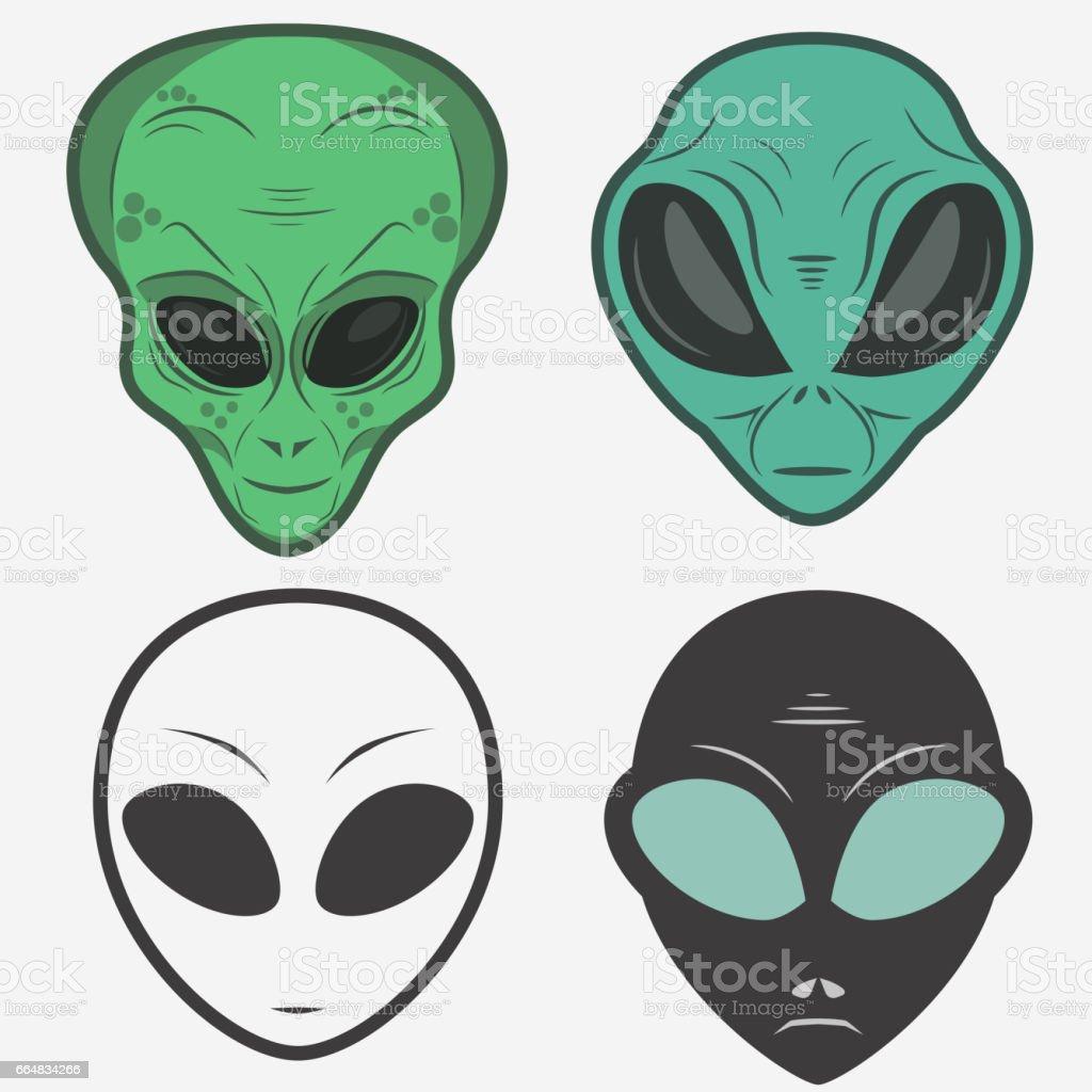 Ilustración de Conjunto De Iconos De Cara Alienígena Cabeza ...
