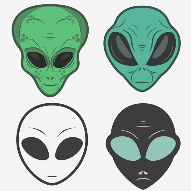 stockillustraties, clipart, cartoons en iconen met alien gezicht pictogrammenset, humanoïde head, vector - buitenaards wezen