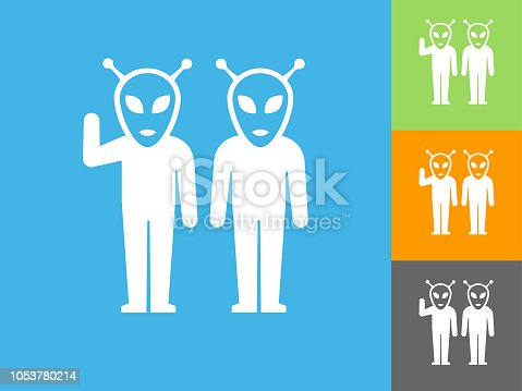 Alien  Flat Icon on Blue Background. The icon is depicted on Blue Background. There are three more background color variations included in this file. The icon is rendered in white color and the background is blue.