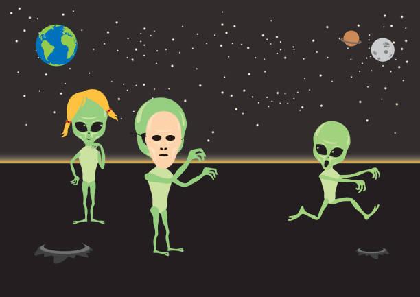 illustrazioni stock, clip art, cartoni animati e icone di tendenza di alien fun vector illustration - frogman