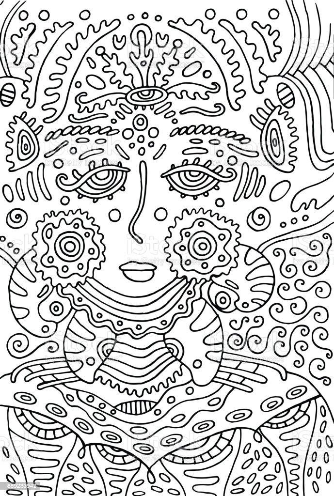 Ilustración de Chica Diosa Alienígena Página Para Colorear De Doodle ...