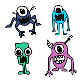 Alien hand drawn cute funny character design. Imagination drawing vector set collection.