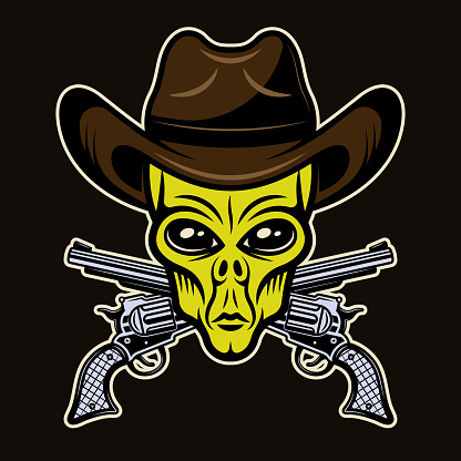 Alien head in cowboy hat and crossed pistols vector illustration in colorful cartoon style isolated on dark background