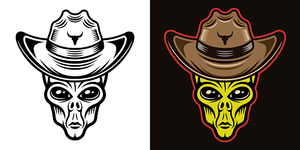 Alien head in cowboy hat vector illustration in two styles black on white and colorful on dark background