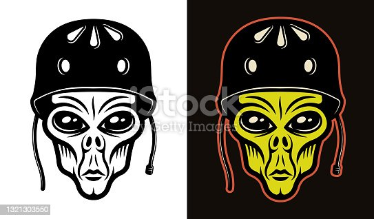 Alien head in protective helmet for skateboarding vector illustration in two styles black on white and colorful on dark background