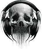 Alien Hipster skull listening to headphones