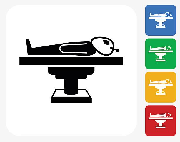 alien icon flat graphic design - autopsy stock illustrations, clip art, cartoons, & icons