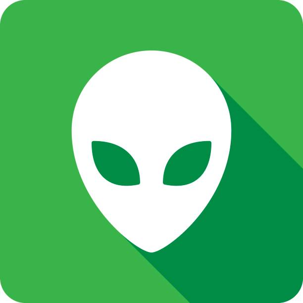 stockillustraties, clipart, cartoons en iconen met alien icon silhouet - buitenaards wezen