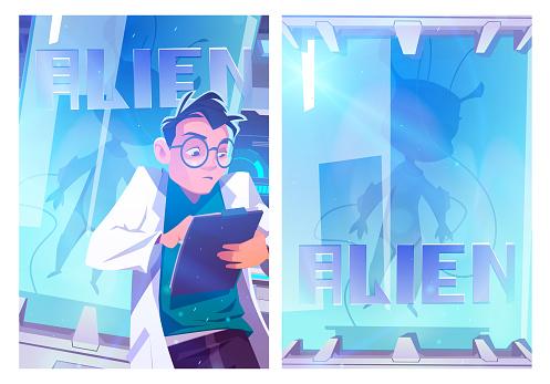Alien in cryonics capsule cartoon boster
