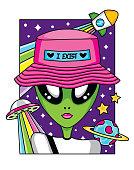 Fun portrait illustration vector of alien in space.