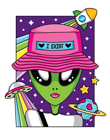 alien in space.