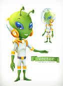 Alien in spacesuit. Funny character vector icon 3d