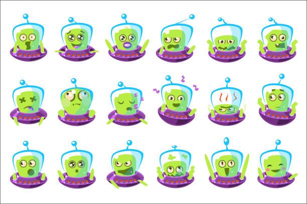 ilustraciones, imágenes clip art, dibujos animados e iconos de stock de alien in ufo emoji conjunto de pegatinas de personajes de dibujos animados simplificados aislados - emoji emocionado