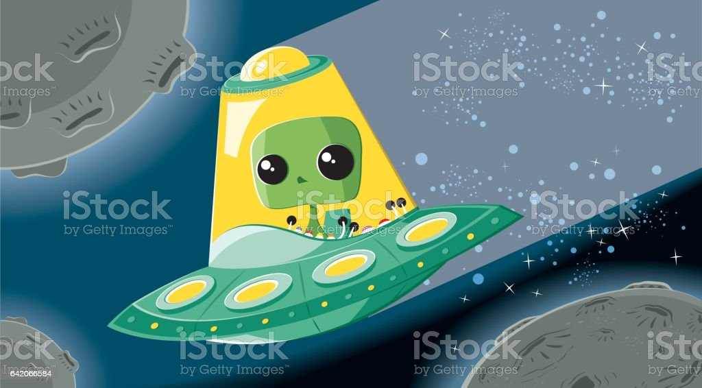 Alien in UFO vector art illustration