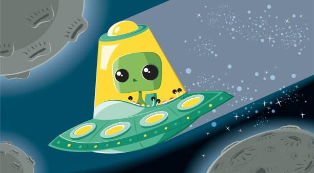 Alien in UFO vector art illustration