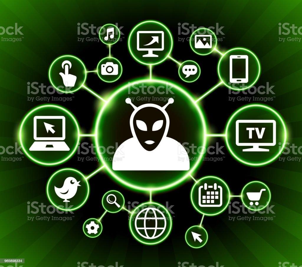 Alien Internet Communication Technology Dark Buttons Background - Royalty-free Alien stock vector