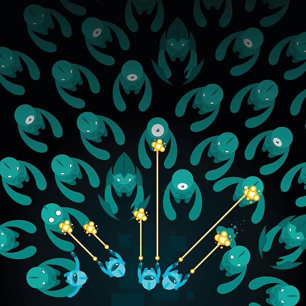 Alien invasion vector art illustration