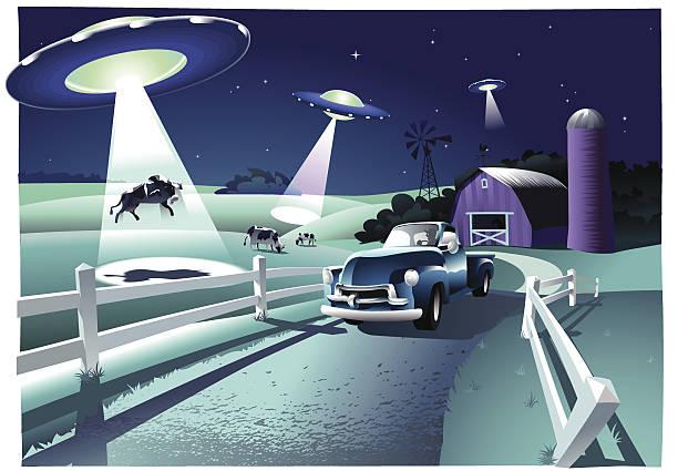 stockillustraties, clipart, cartoons en iconen met alien invasion - ufo