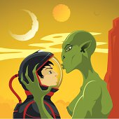 Green humanoid kisses astronaut on an unknown planet.