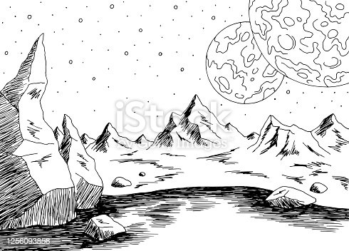 istock Alien planet graphic black white space landscape sketch illustration vector 1256093856