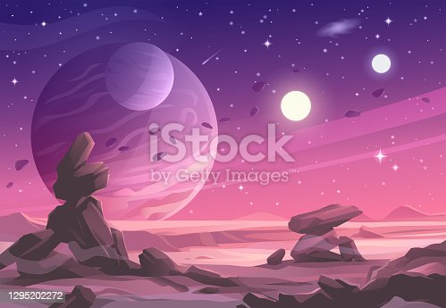 istock Alien Planet Landscape Under A Purple Sky 1295202272