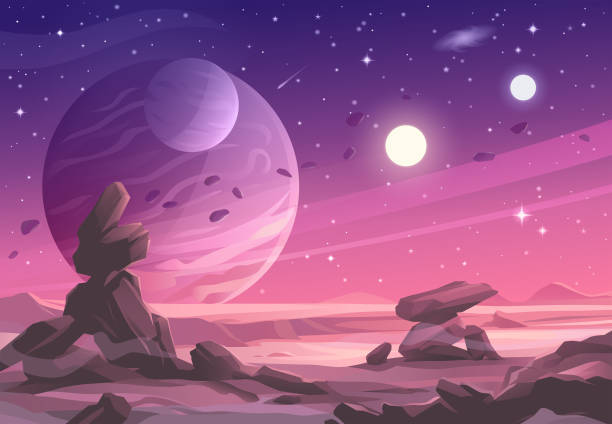 Alien Planet Landscape Under A Purple Sky Illustration of a barren landscape on an alien planet with rock formations, hills and mountains. In the background is a purple sky full of stars, planets, suns, moons, asteroids and a distant galaxy. Vector illustration with space for text. rock formations stock illustrations
