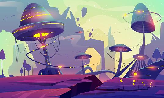 Alien planet landscape with fantasy mushroom trees