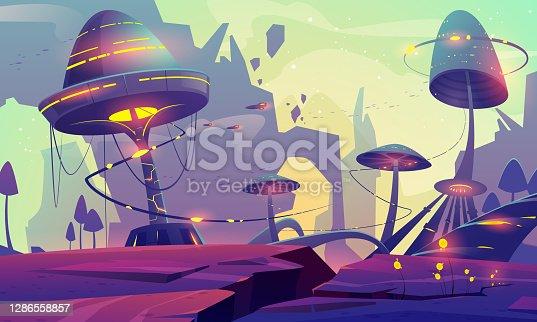 istock Alien planet landscape with fantasy mushroom trees 1286558857
