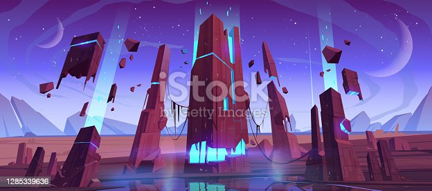 istock Alien planet surface, futuristic cosmic landscape 1285339636
