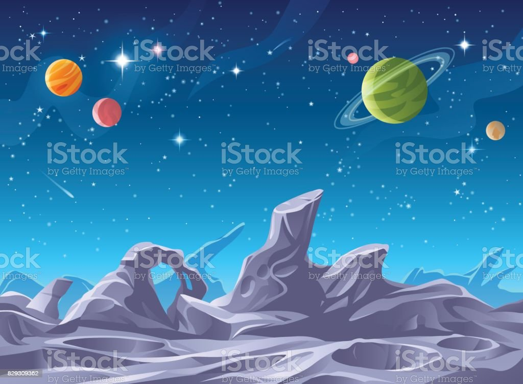 Alien Planet Surface vector art illustration