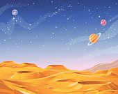 Surface of an alien planet saturated with craters. In the background is a dark blue sky full of stars and planets. Vector illustration with space for text. EPS 10, grouped and labeled in layers.