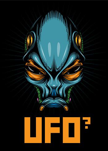 """UFO?"" - Alien portrait poster."