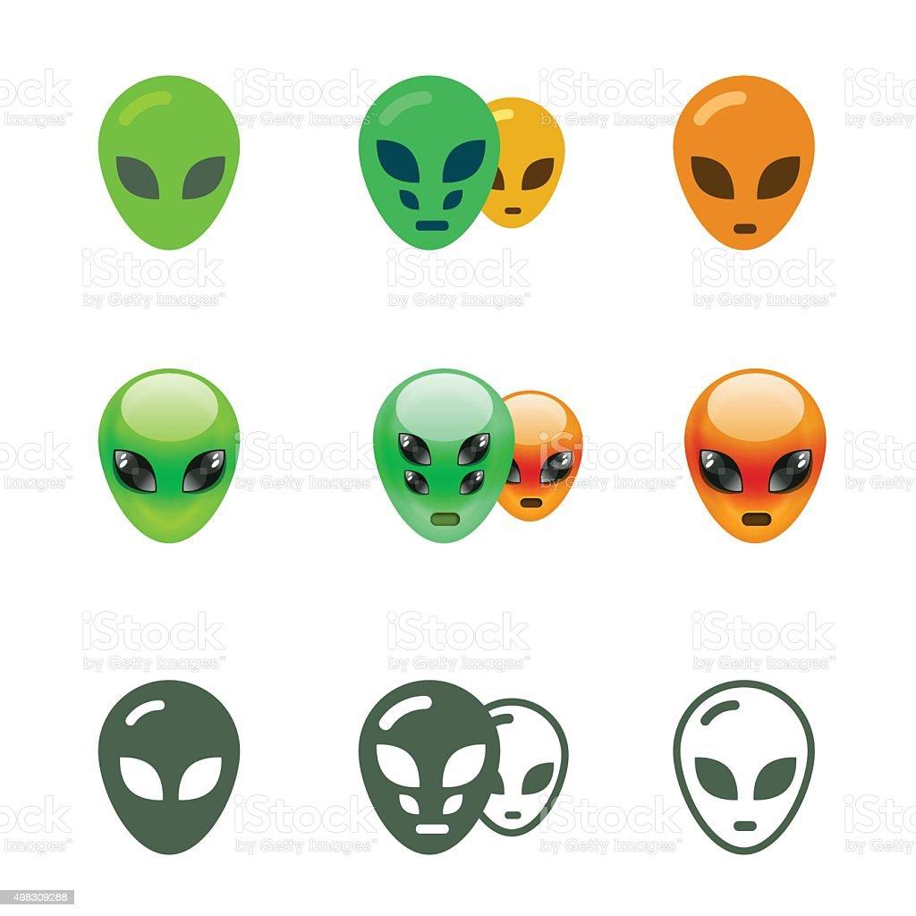 Alien Smiles Set vector art illustration