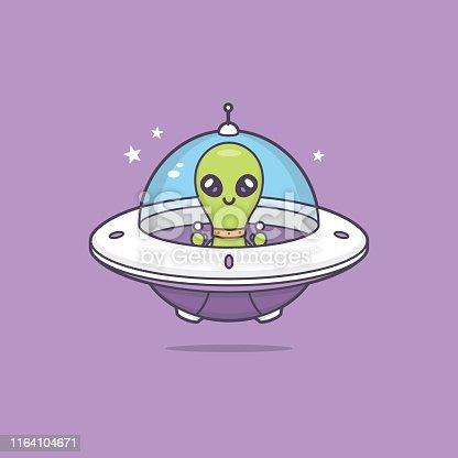 Cute kawaii alien in space ship vector cartoon illustration