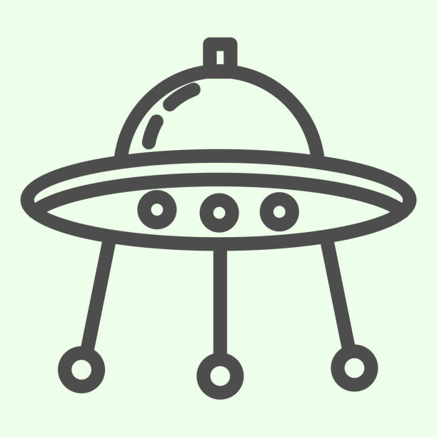Alien spaceship line icon. Spacecraft or ufo ship plate outline style pictogram on white background. Space and astronomy signs for mobile concept and web design. Vector graphics. Alien spaceship line icon. Spacecraft or ufo ship plate outline style pictogram on white background. Space and astronomy signs for mobile concept and web design. Vector graphics ancient civilization stock illustrations