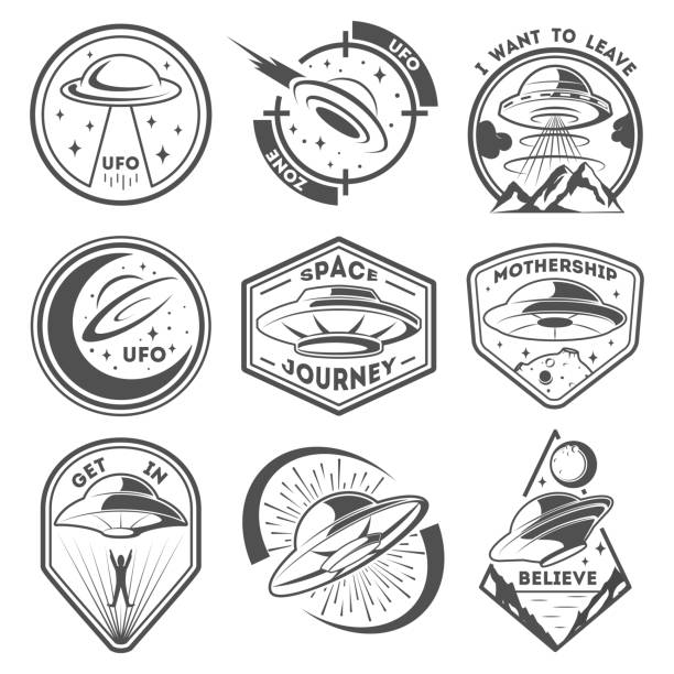 alien spaceship, spacecrafts and ufo emblems set. cosmic ship in form saucer for transportation. monochrome ufo badges set - космос и астрономия stock illustrations