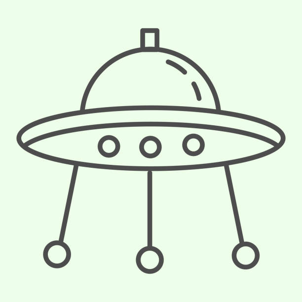 Alien spaceship thin line icon. Spacecraft or ufo ship plate outline style pictogram on white background. Space and astronomy signs for mobile concept and web design. Vector graphics. Alien spaceship thin line icon. Spacecraft or ufo ship plate outline style pictogram on white background. Space and astronomy signs for mobile concept and web design. Vector graphics ancient civilization stock illustrations